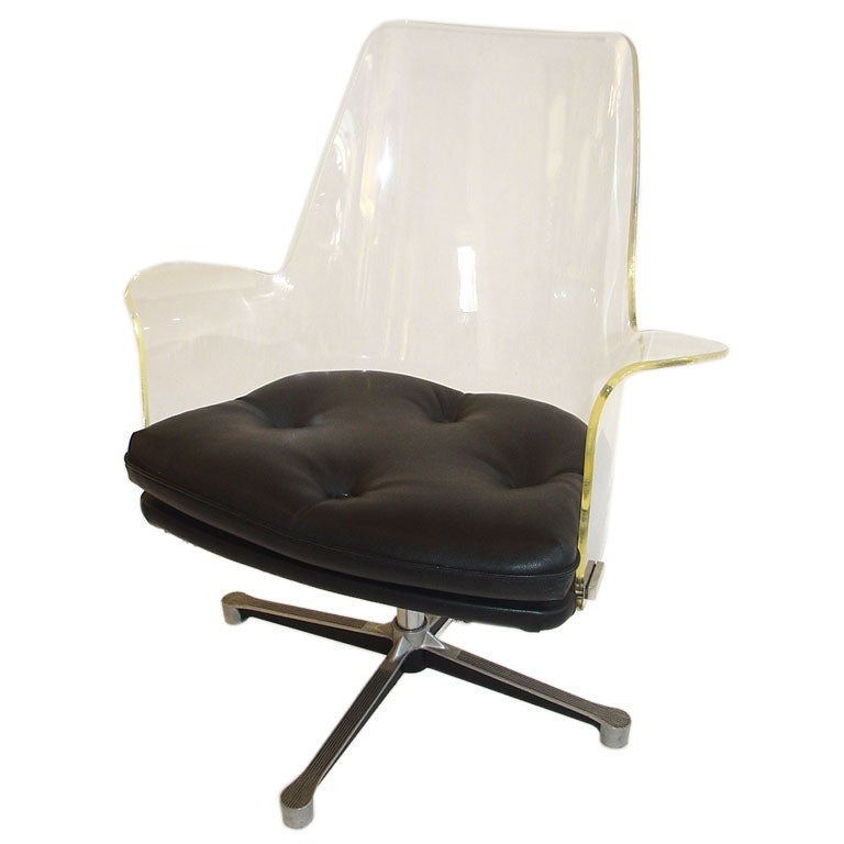 Lucite Swivel Desk Chair at 1stdibs