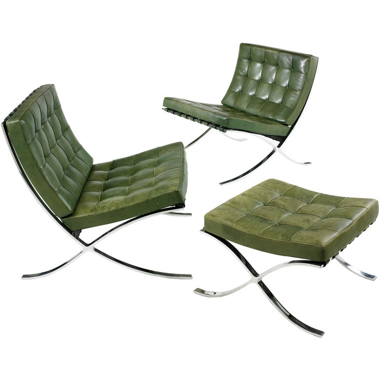 pair of Barcelona lounge chairs and ottoman by Ludwig Mies van der Rohe at 1s