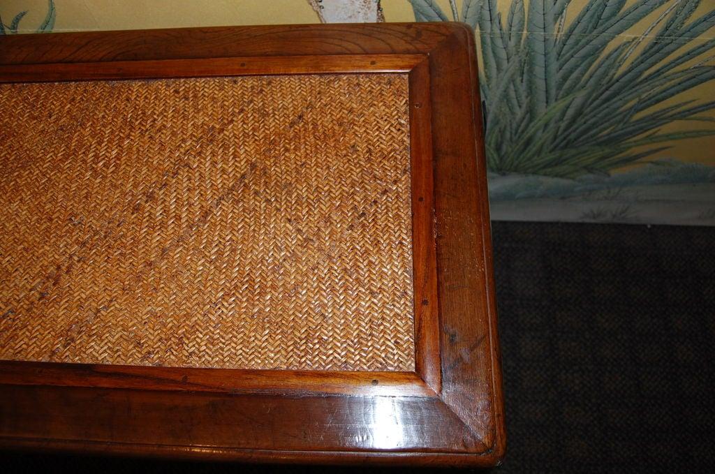 Chinese 19th Century Wooden Bench with Rattan Top 6