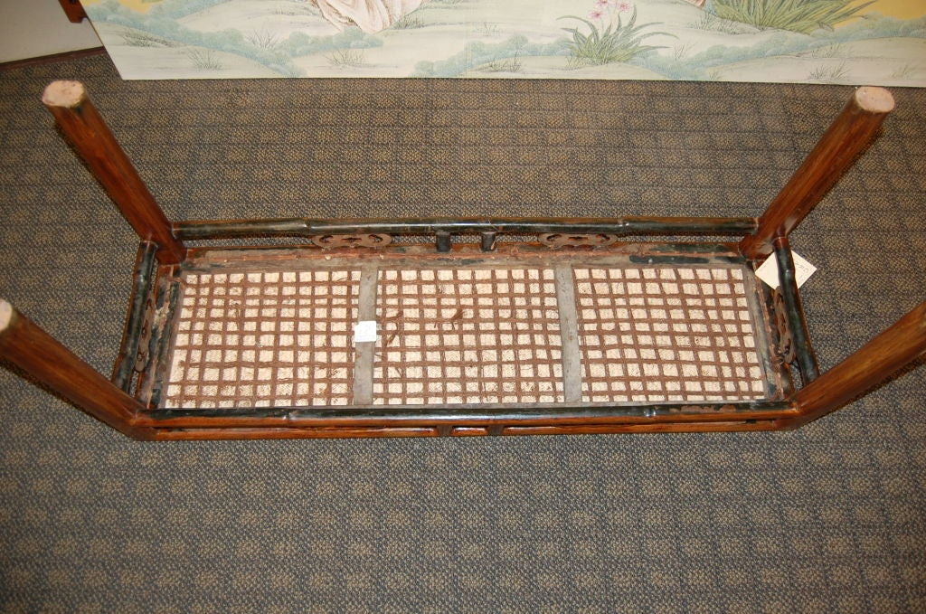 Chinese 19th Century Wooden Bench with Rattan Top 7