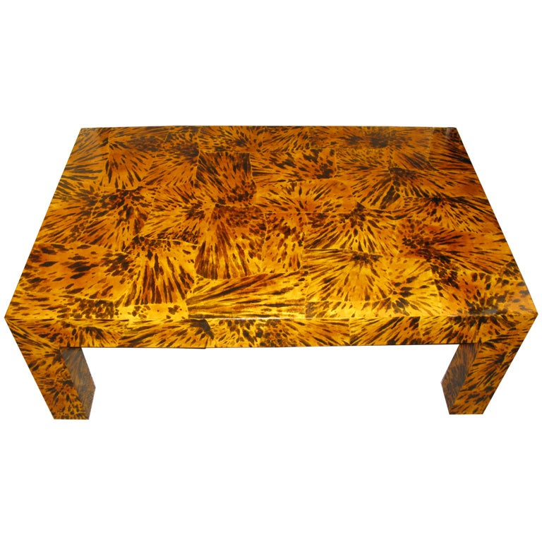 Lacquered faux tortoise shell coffee table For Sale