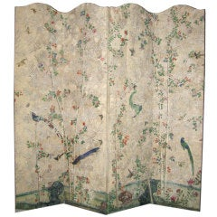 18th Century Chinese Handpainted Wallpaper On Four Panel Screen