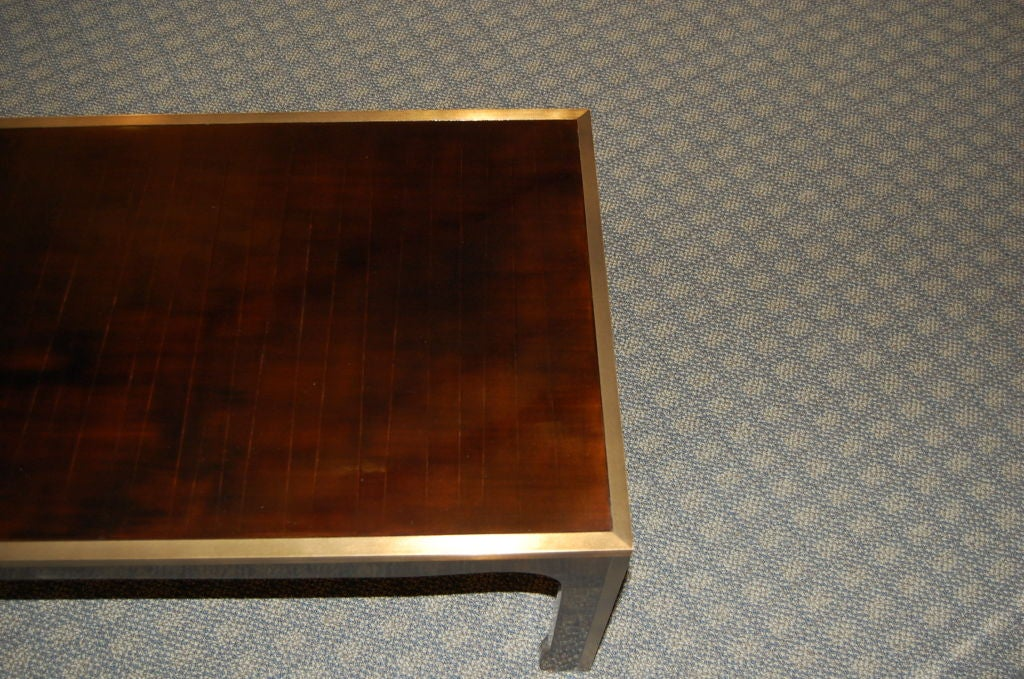 Ming Style Coffee Table In Cashew Lacquer Finish With Metal Edge 2
