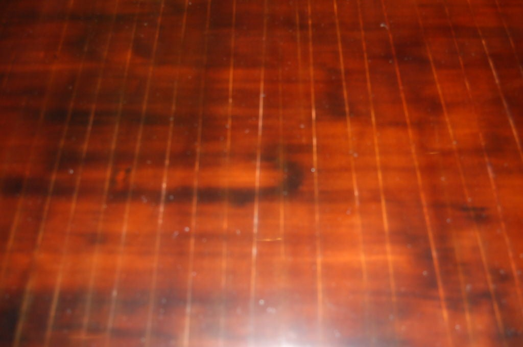 American Ming Style Coffee Table in Cashew Lacquer Finish with Metal Edge For Sale