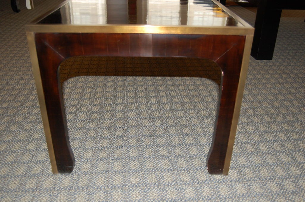 Ming Style Coffee Table in Cashew Lacquer Finish with Metal Edge In Excellent Condition For Sale In New York, NY