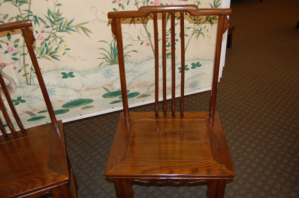 Pair of 18th Century Chinese Wooden Side Chairs In Good Condition For Sale In New York, NY