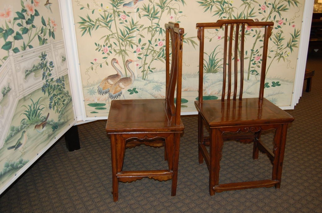 Elm Pair of 18th Century Chinese Wooden Side Chairs For Sale