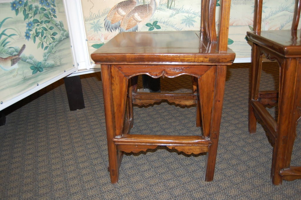 Pair of 18th Century Chinese Wooden Side Chairs For Sale 1