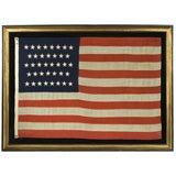 38 STAR AMERICAN FLAG, HAND-SEWN STARS, COLORADO STATEHOOD