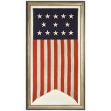 13 STAR, SWALLOWTAILED, AMERICAN FLAG BANNER, RARE 5-3-5 PATTERN