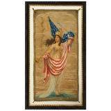 LADY LIBERTY BANNER, HAND-PAINTED, 1917