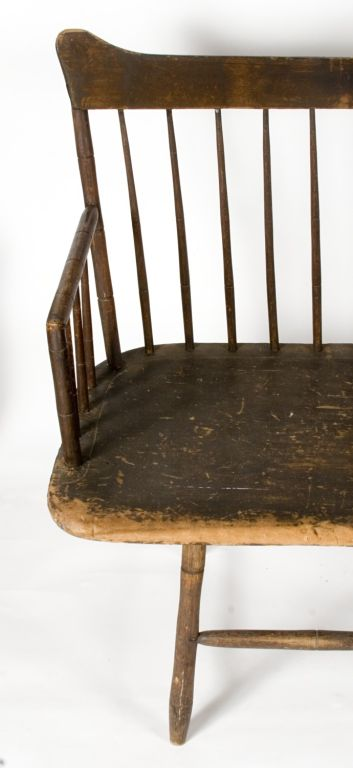 NEW HAMPSHIRE SETTEE, FOUND IN THE PUBLIC LIBRARY IN THE TOWN OF DOVER, CA 1800:  This marvelous, country windsor settee was recently found in the basement of the public library in Dover, New Hampshire. There it had quite evidently been since the