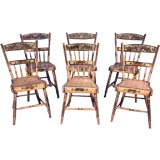 6 Pennsylvania Decorated Chairs, Grey, Unusual Color, Mid-19th C