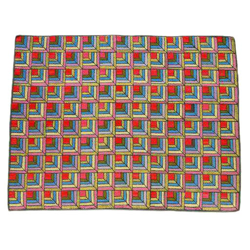 Vintage Mexican Zapotec Rug In Small Size With Stylized: Room-sized Hooked Rug In The Log Cabin Pattern With Great