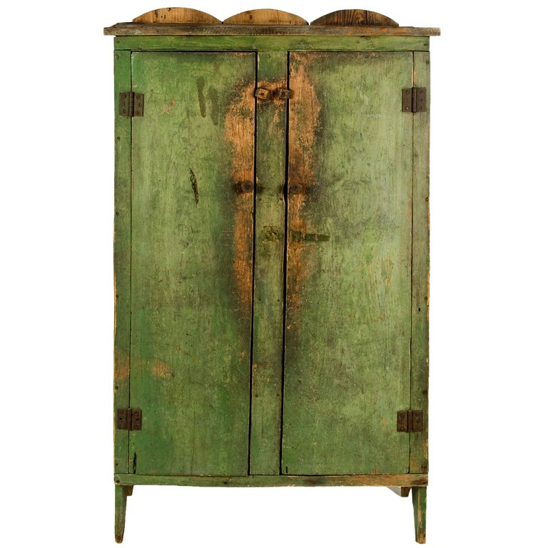 APPLE GREEN JELLY CUPBOARD, SHENANDOAH VALLEY, VIRGINIA For Sale