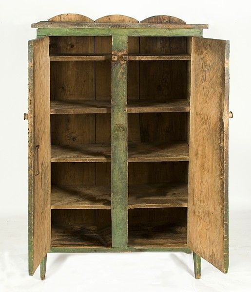 American APPLE GREEN JELLY CUPBOARD, SHENANDOAH VALLEY, VIRGINIA For Sale