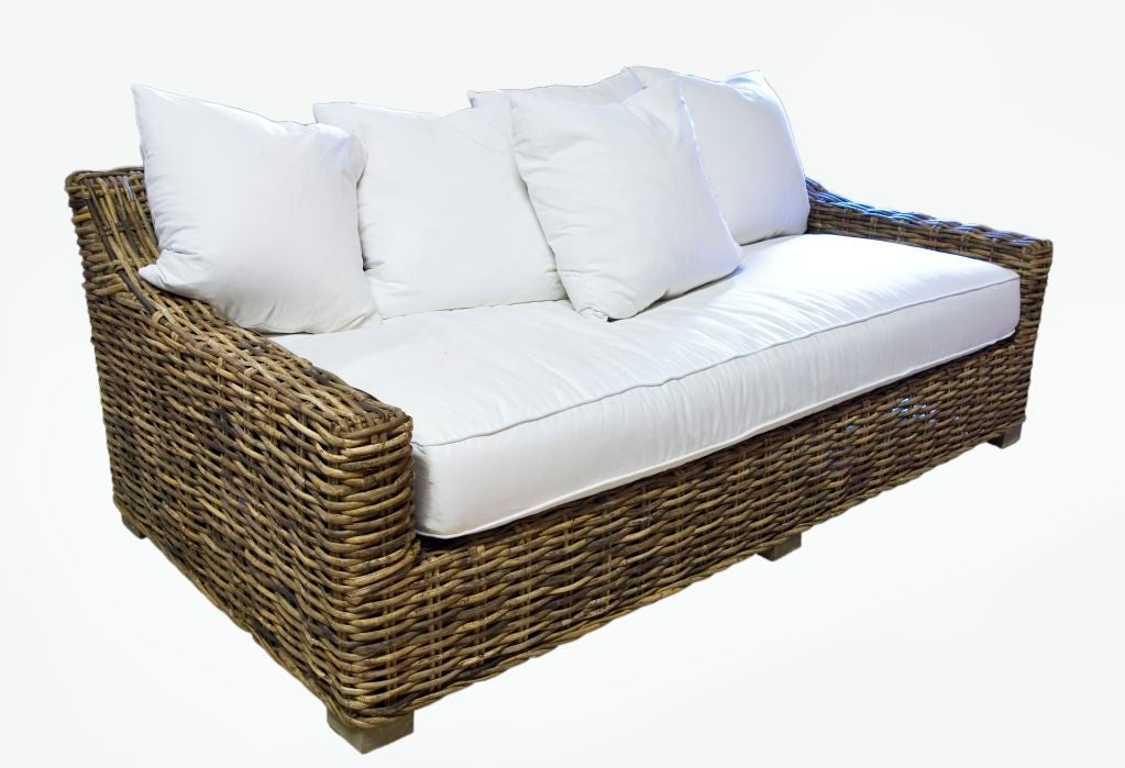 Contemporary wicker sofa at 1stdibs for Modern rattan sofa