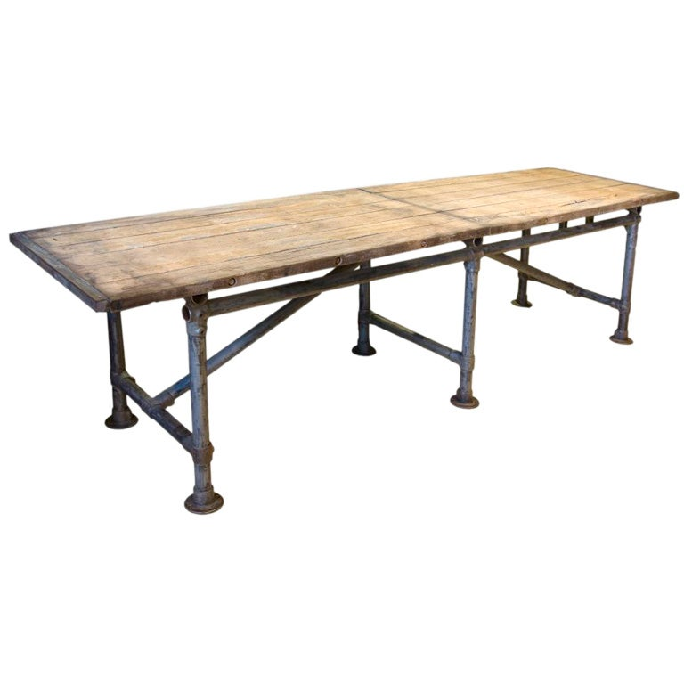 Wood Top Table With Metal Base At 1stdibs