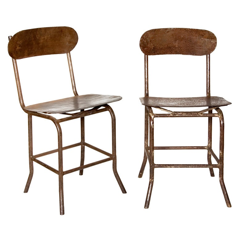 Industrial Metal Chairs at 1stdibs