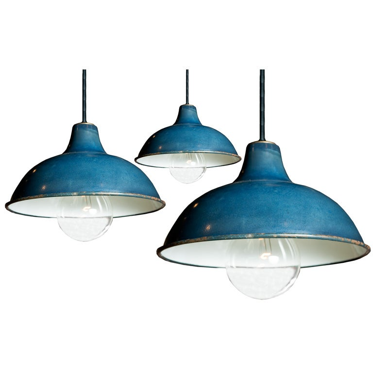 industrial blue pendant light fixtures at 1stdibs