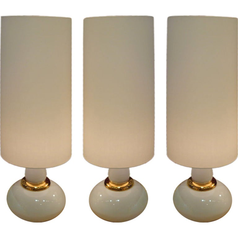 a set of three very large white ceramic lamps at 1stdibs. Black Bedroom Furniture Sets. Home Design Ideas