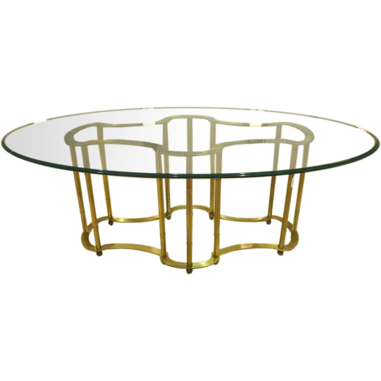 An Oval Top Glass and Brass Dining Table by Mastercraft at  : 009 from 1stdibs.com size 768 x 768 jpeg 32kB