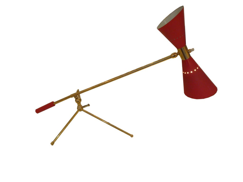A Brass and Red Lacquer Desk Lamp at 1stdibs
