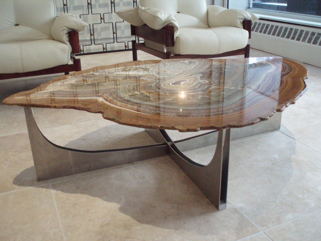 An agate topped modernist cocktail table at 1stdibs for Table of tables