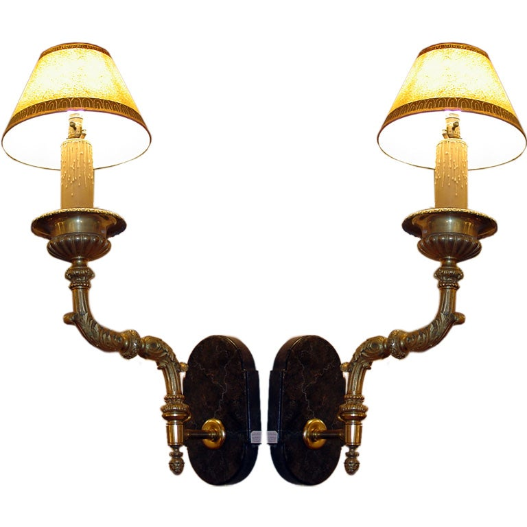 Modern Wall Sconces Italian : Pair of Bronze Italian Wall Sconces at 1stdibs