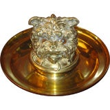 19th Century English Brass Dog Inkwell
