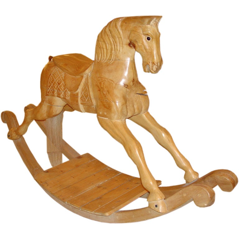 Exceptional Size Wooden Rocking Horse At 1stdibs