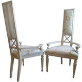 Pair of Tall  Backed Bleached Mahogany Arm Chairs