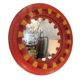 Convex Mirror in Wooden Painted Gear