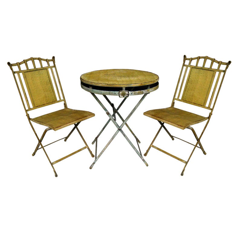 Faux Crocodile French Bistro Table and Two Chairs