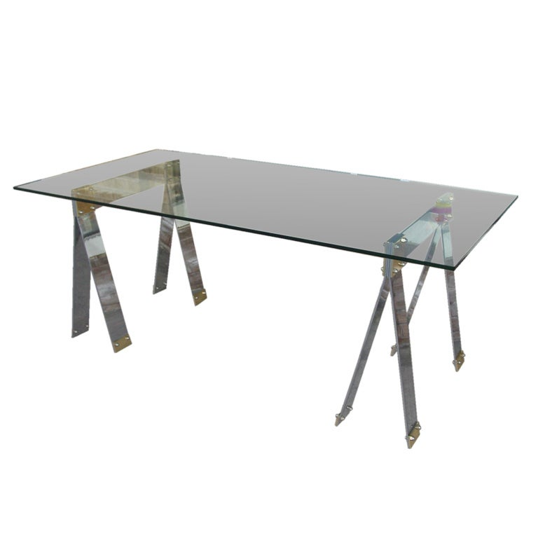 chic chrome and brass trestle desk 1