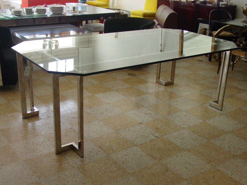 stainless steel and glass dining table at 1stdibs