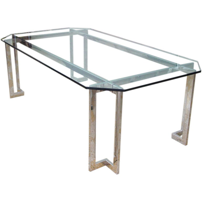 Stainless steel and glass dining table for Metal table design