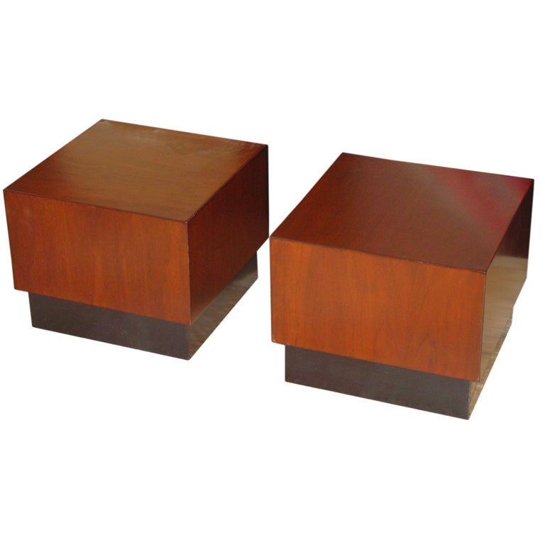 Pair of Walnut Cube Tables by Milo Baughman at 1stdibs