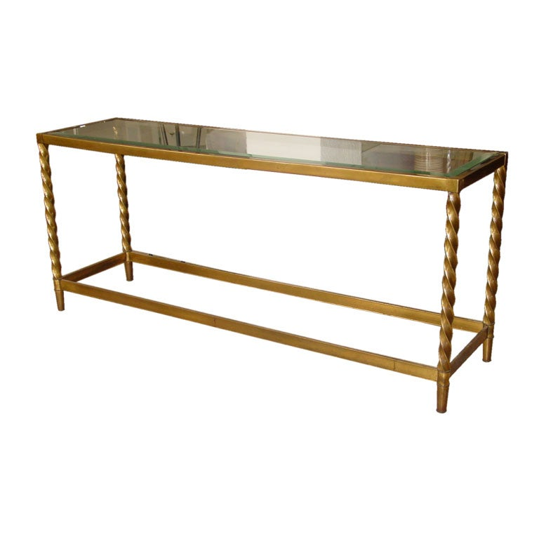 Brass Console Table by Mastercraft at 1stdibs