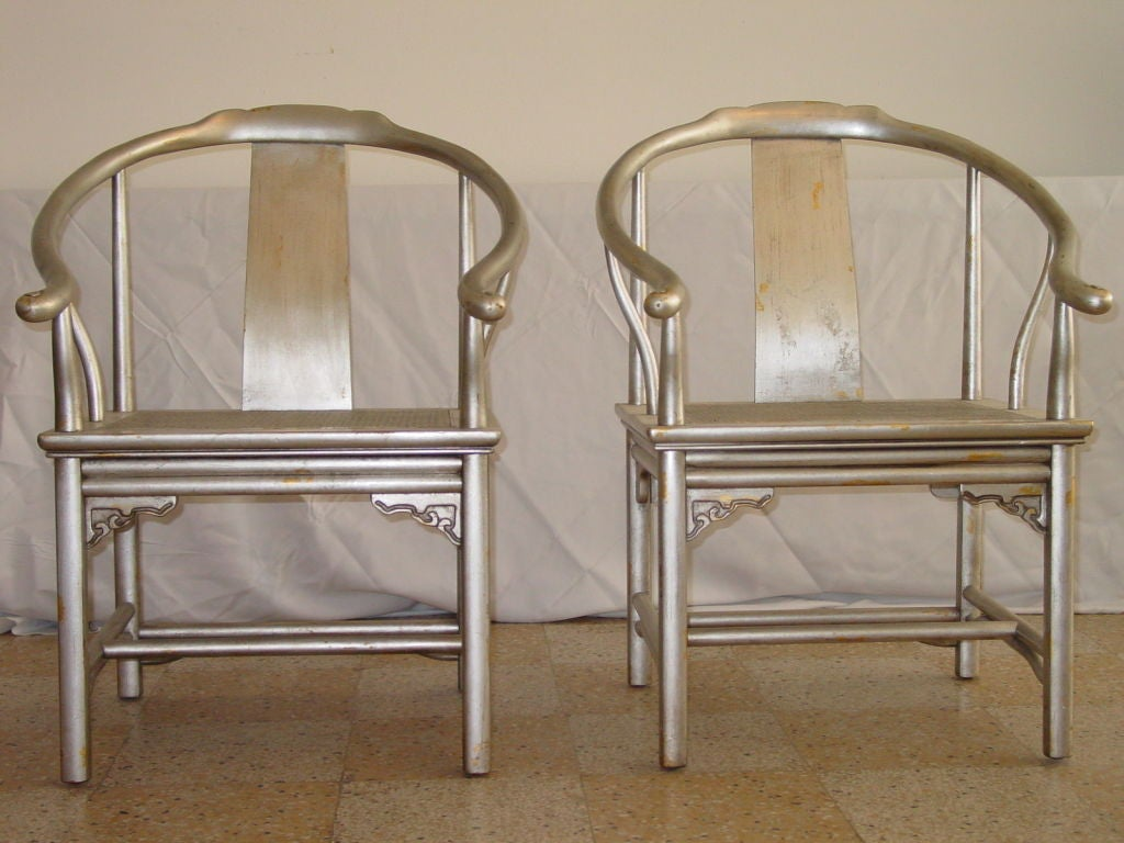 American Pair of Silver Leaf Asian Chairs