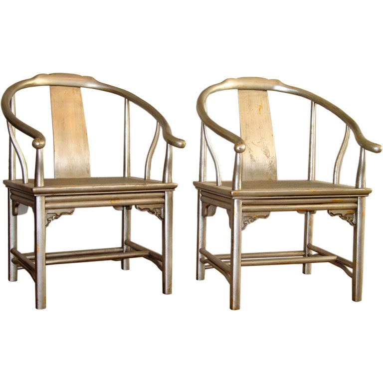 Pair of Silver Leaf Asian Chairs