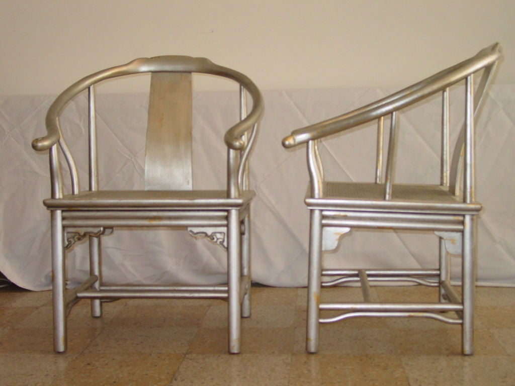 Cane Pair of Silver Leaf Asian Chairs