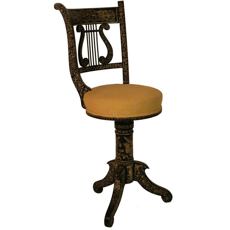 A Penwork Decorated Musician S Chair At 1stdibs