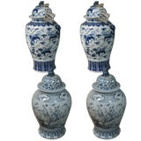 Pairs of 19th c. Blue and White Chinese Porcelain Temple Jars