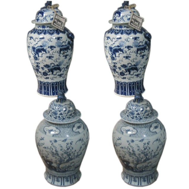 Pairs of 19th c. Blue and White Chinese Porcelain Temple Jars 1
