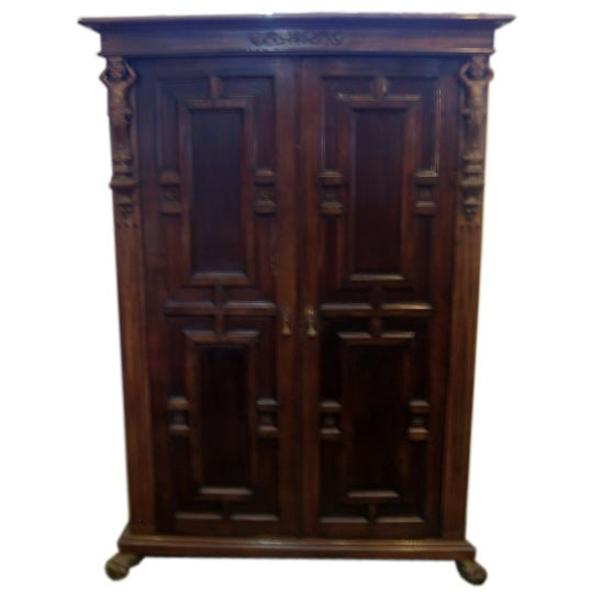 Wooden Walnut Wardrobe Armadio with Bronze Cherub Mounts
