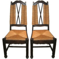 Ceruse Oak Rush Seat Side Chairs Attributed to Maxime Old