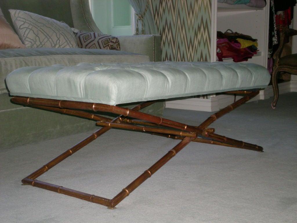 1960 S Faux Bamboo Folding Base Ottoman In Aqua Upholstery