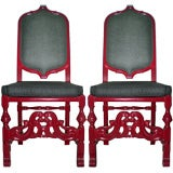 Pair of Red Lacquered Moroccan Side chairs