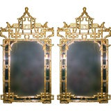 Pair of 1960's Gilded Chinese Chippendale Style Carved Mirrors